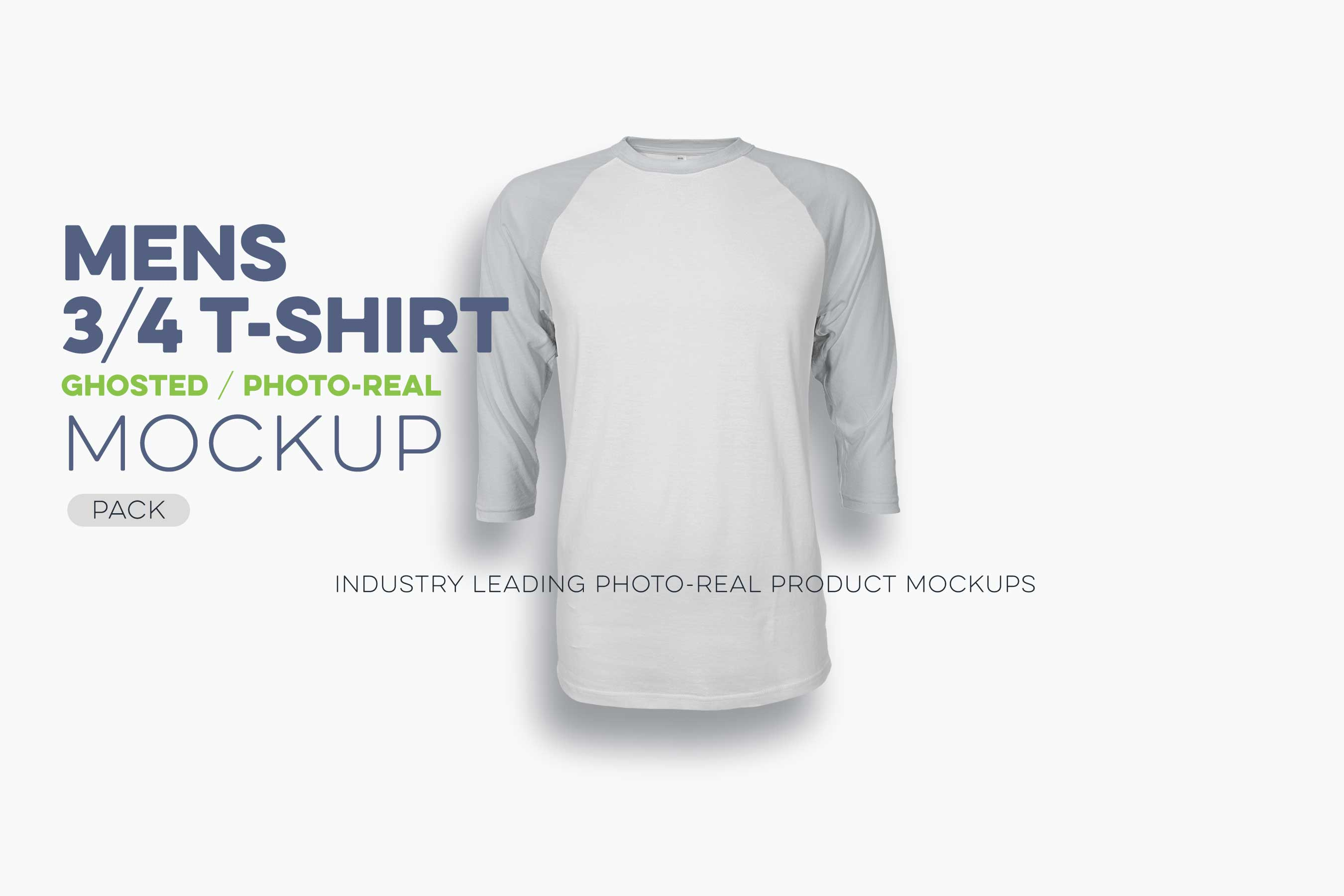 Mens ghosted 3 4 sleeve t shirt mockup for 3 4 sleeve shirt template